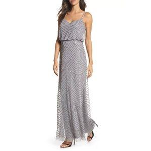 Adrianna Papell art deco beaded blouson gown dress